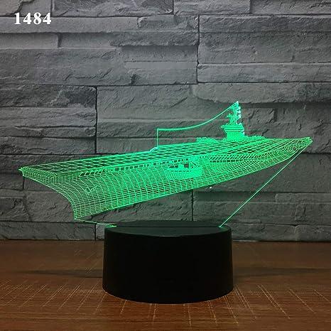 BFMBCHDJ Velero Velero Yate Diseño submarino Lámpara de noche 3D ...