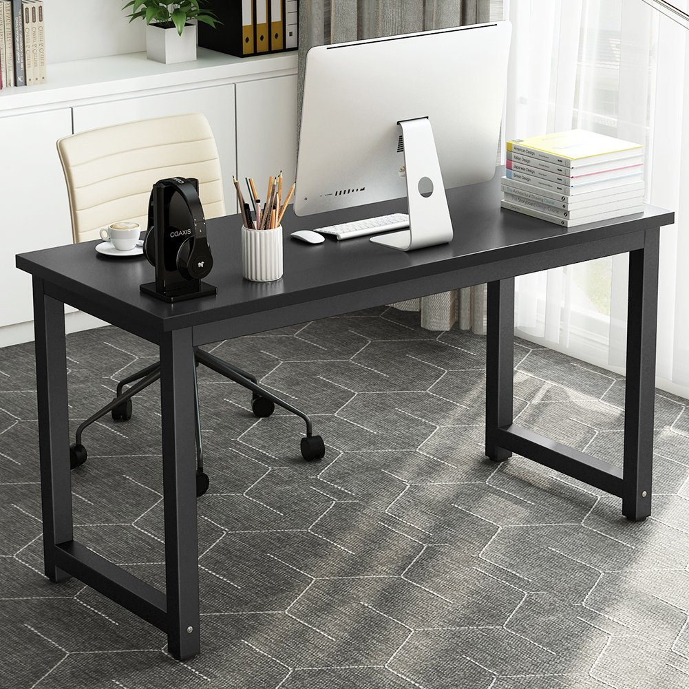 Tribesigns Computer Desk, 55 inch Large Office Desk Computer Table Study Writing Desk for Home Office, Black + Black Leg by Tribesigns (Image #2)
