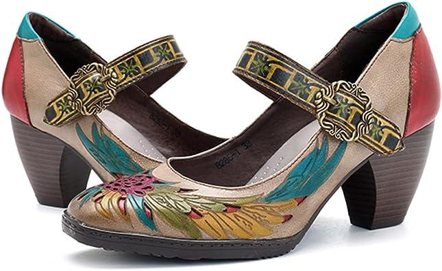 Femmes Escarpins Beau Cuir Chaussure Confortable Elégant