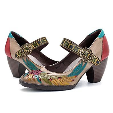 84cc9202fe84a8 Socofy Mocassins Femme, Chaussures de Ville en Cuir à Motif Fleurs Escarpins  à Talons Moyens