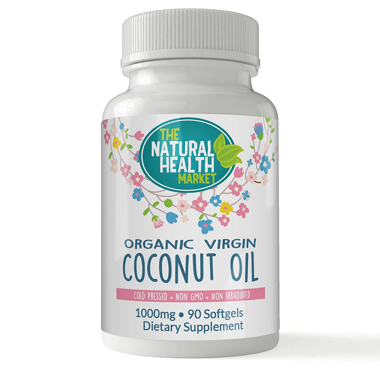 Organic Coconut Oil Capsules 1000mg by The Natural Health Market • Cold Pressed • Virgin Coconut Oil Capsules for Weight Loss • Stimulate Fat Burning (90 Capsules)