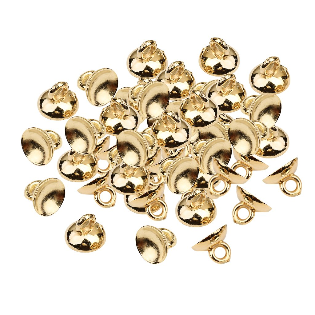 Baoblaze 200 Pieces Plastic Bell Shape End Caps Beads Caps Ball Charms Pendants Findings with Loop - Gold ee7696b3172ef7f53fc1f5f707e7733c