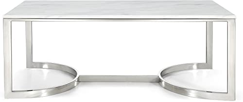 Meridian Furniture Copley Collection Modern Contemporary Square Marble Veneer Top Coffee Table with Stainless Steel Base and Polished Chrome Finish, 48 W x 25 D x 18.5 H
