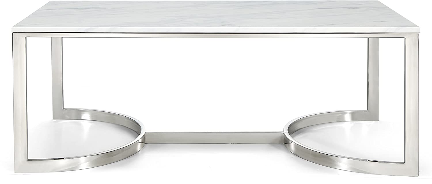 "Meridian Furniture 245-C Copley Collection Modern | Contemporary Square Marble Veneer Top Coffee Table with Stainless Steel Base and Polished Chrome Finish, 48"" W x 25"" D x 18.5"" H"