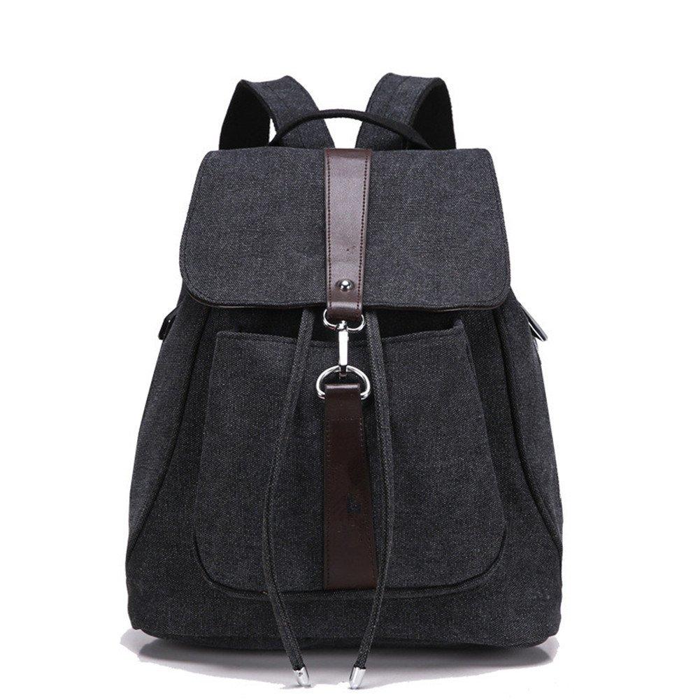 Hynbase Fashion Women Large Travel Canvas Rucksack Backpack Shoulder Bag  Black  Handbags  Amazon.com 1322b804731c2