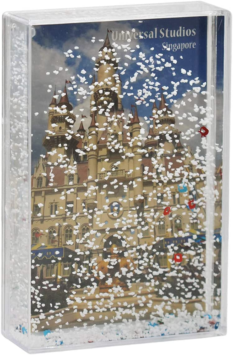 PYU Glitter Picture Frames 4X6, Snow Globe Floating Sparkle Clear Plastic Photo Frame, Desktop Photo Display, Romantic Christmas Valentines Gifts for Family Friends Couples (Cable Car)