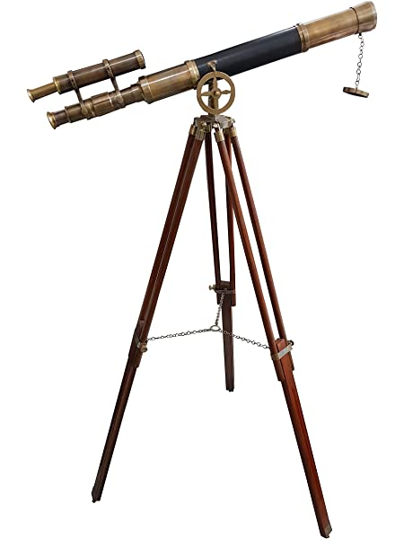 Double Barrel Brass Telescope With Wooden Tripod Stand Marine Floor Telescope