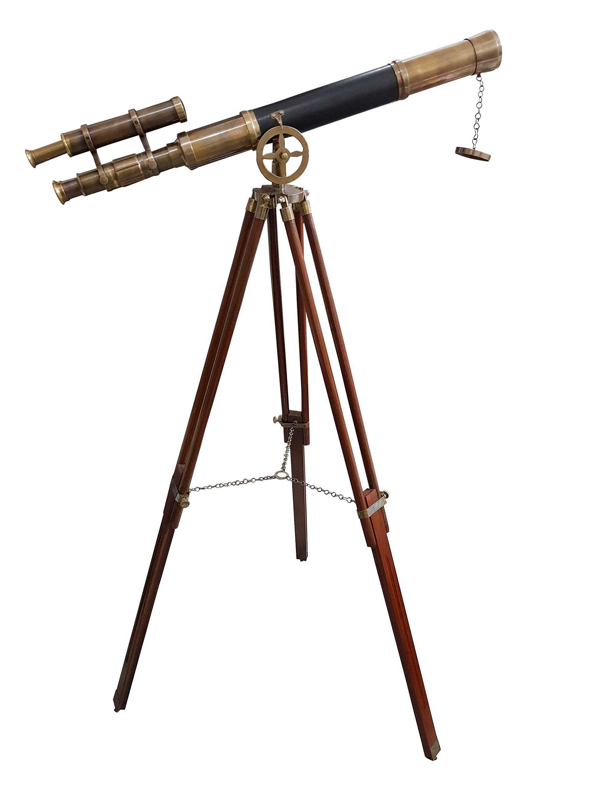 Maritime Brass Antique Double Barrel Designer Telescope with Wooden Tripod Floor Standing Telescopic tripods - collectiblesBuy