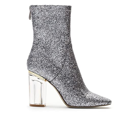 ae687a96632f Womens Zip Up Perspex Block Heel Chunky Ankle Boots Glitter Silver 5 ...