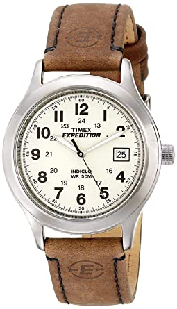 a71bbda41 Timex Men's T49870 Expedition Metal Field Brown Leather Strap Watch, Brown /White