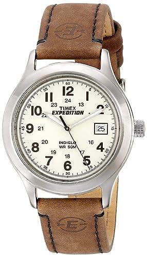 9626bfb3837b Timex T49870SU - Reloj analógico de caballero de cuarzo con correa de piel  marrón  Timex  Amazon.es  Relojes