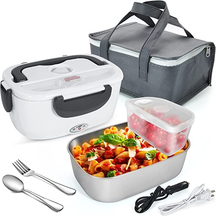 Electric Hot Lunch Box for Car Truck And Home Lunchbox Portable Food Warmer Heater Bento Boxes 2-in-1 with 1.5L Removable 304 Stainless Steel Container 2 Compartments Fork & Spoon Insulated Bag Grey