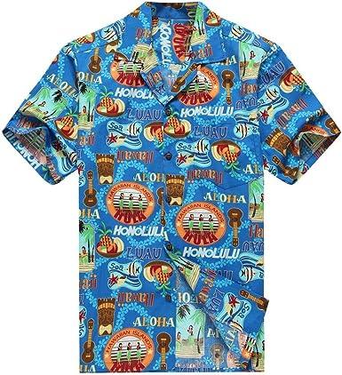 Hecho en Hawai de los Hombres Camisa Hawaiana Camisa de la Hawaiana S Peces de Tiki del Ukulele de Las Muchachas de Hula en Azul: Amazon.es: Ropa y accesorios