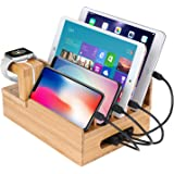 Charging Station, HomeXin Bamboo Multi Device Charge Stand Universal Cord Organizer Dark for Apple Watch, Smart Phones, iPad and Tablets