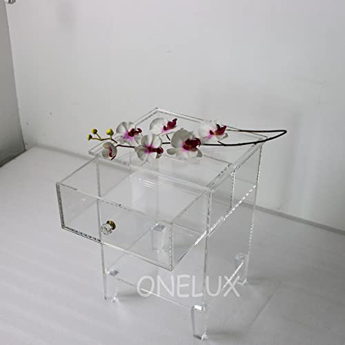 ONELUX Clear Acrylic Nightstand with Drawer Unit,Lucite End Sofa Table