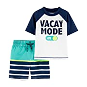 Carter's Baby Boys Rashguard Swim Set, Vacay Mode, 9 Months