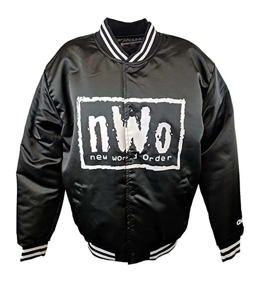 b6acd6987 New World Order NWO White Logo Fanimation WWE Black Chalkline Jacket at  Amazon Men s Clothing store