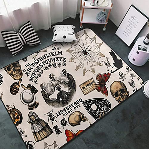 NiYoung Luxury Modern Thick Soft Vintage Skull Skeleton Spider Web Witch Board Gothic Area Rug