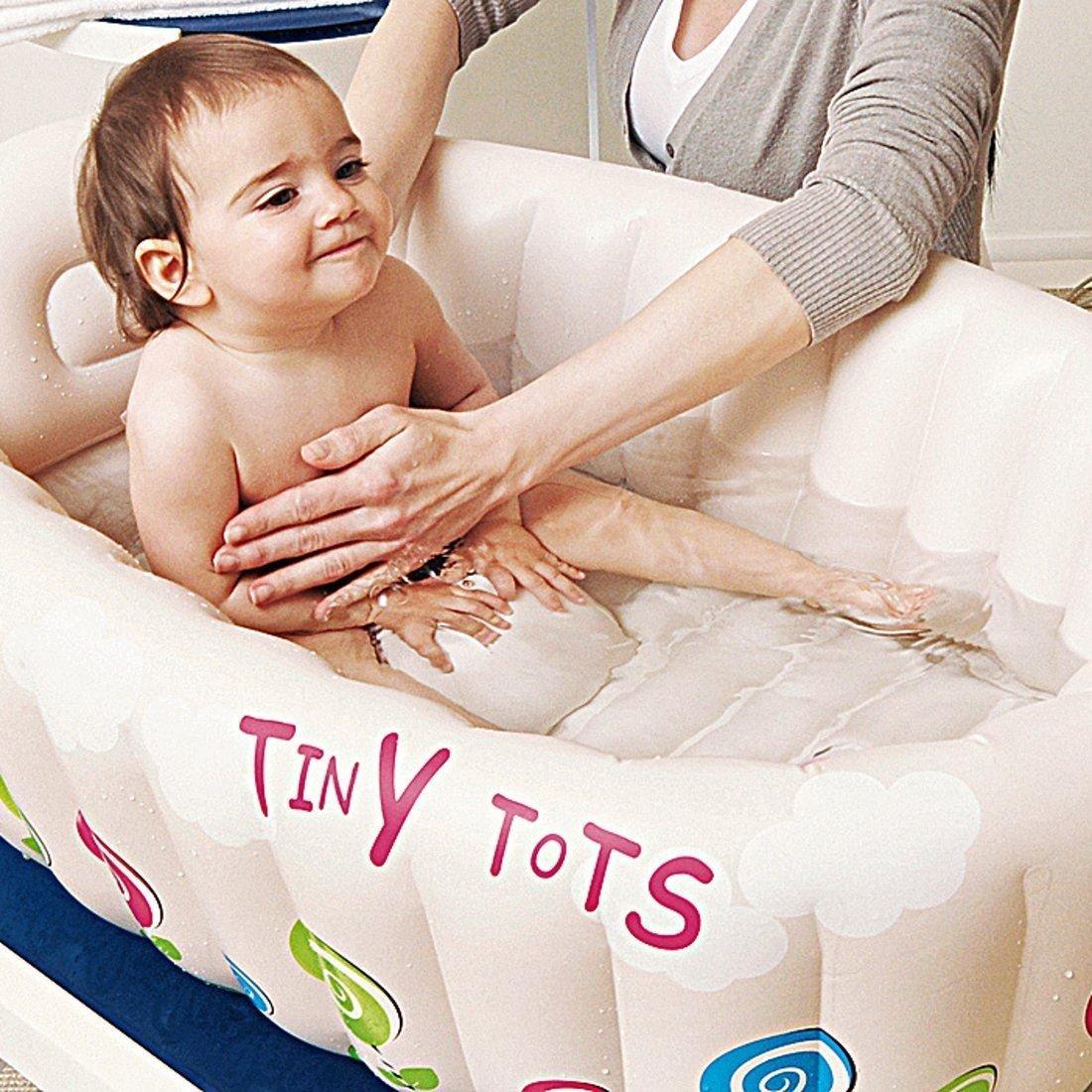 TINY TOTS INFLATABLE BABY HOT BATH HEAT SENSOR WASHING TRAVEL TUB
