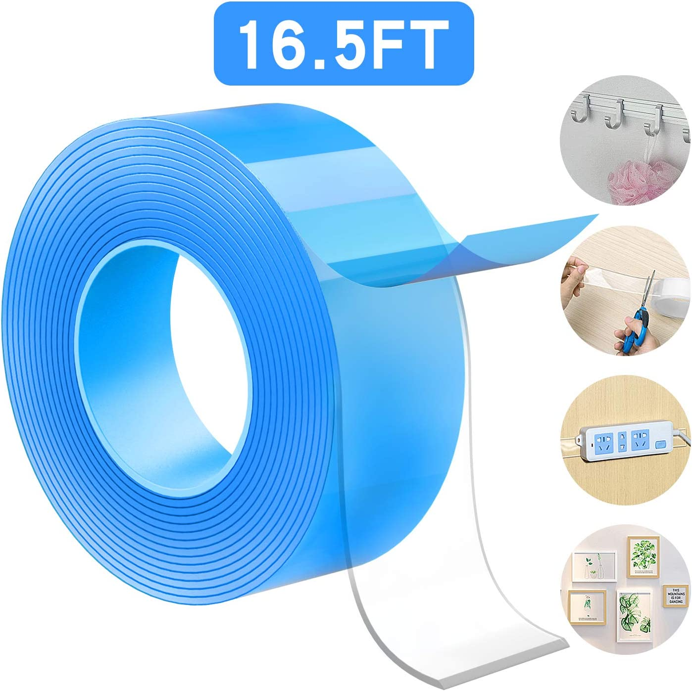 Meofia Nano Double Sided Tape Heavy Duty Mounting Tape Multipurpose Reusable Traceless Strong Adhesive Tape Removable Washable Stick Gel Grip Tape for Photos Carpet Mat Wall Kitchen Office