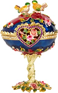 QIFU Hand Painted Enameled Faberge Egg Style Decorative Hinged Jewelry Trinket Box Unique Gift For Home Decor