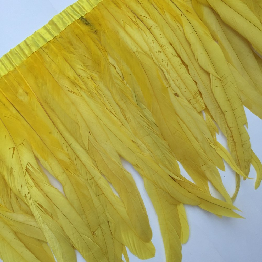 Cream KOLIGHT Pack of 1 Yard Natural Rooster Feather Trim Fringe 12-14 Inch in Width DIY Cosplay Decoration