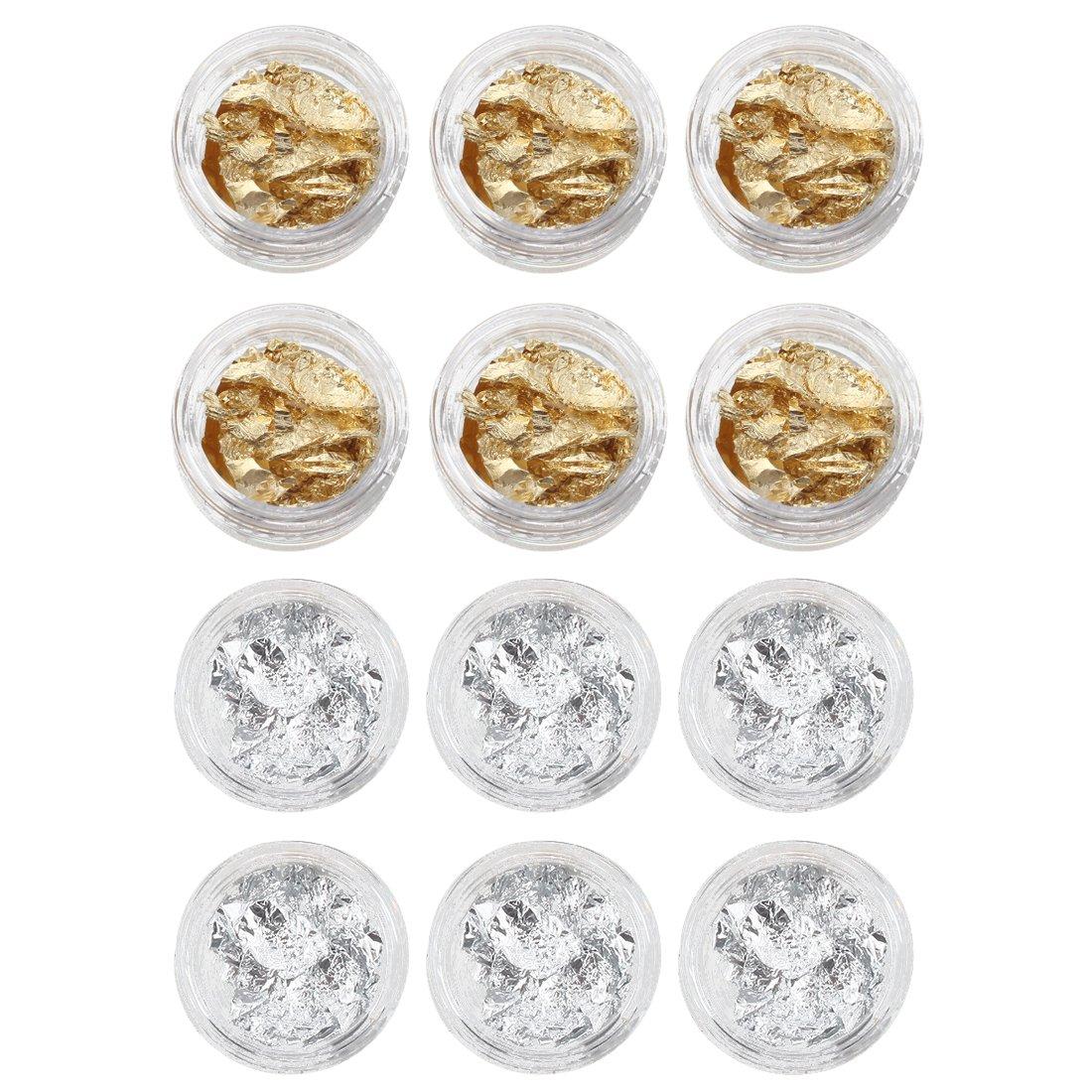 TOOGOO(R)12 PCS Feuilles/Paillettes d'or et argent de ongles/Nail Art/Gel UV francais 028706