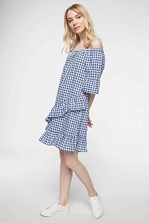 e239c40ebea0e DeFacto Fırfır Detaylı Kareli Elbise: Amazon.com.tr