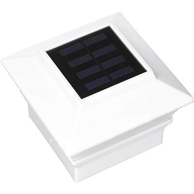 iGlow White Outdoor Garden 4 x 4 Solar LED Post Deck Cap Square Fence Light Landscape Lamp Lawn PVC Vinyl Wood