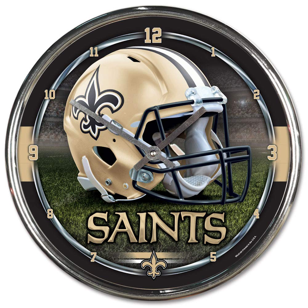 NFL New Orleans Saints Chrome Clock, 12'' x 12'' by WinCraft