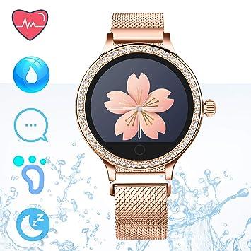 IP68 Fitness Tracker Watch – Smart Watch Bluetooth Podómetro Contador de Pasos Pulsera Inteligente Relojes para Mujeres Llamada SMS Push Android iOS ...
