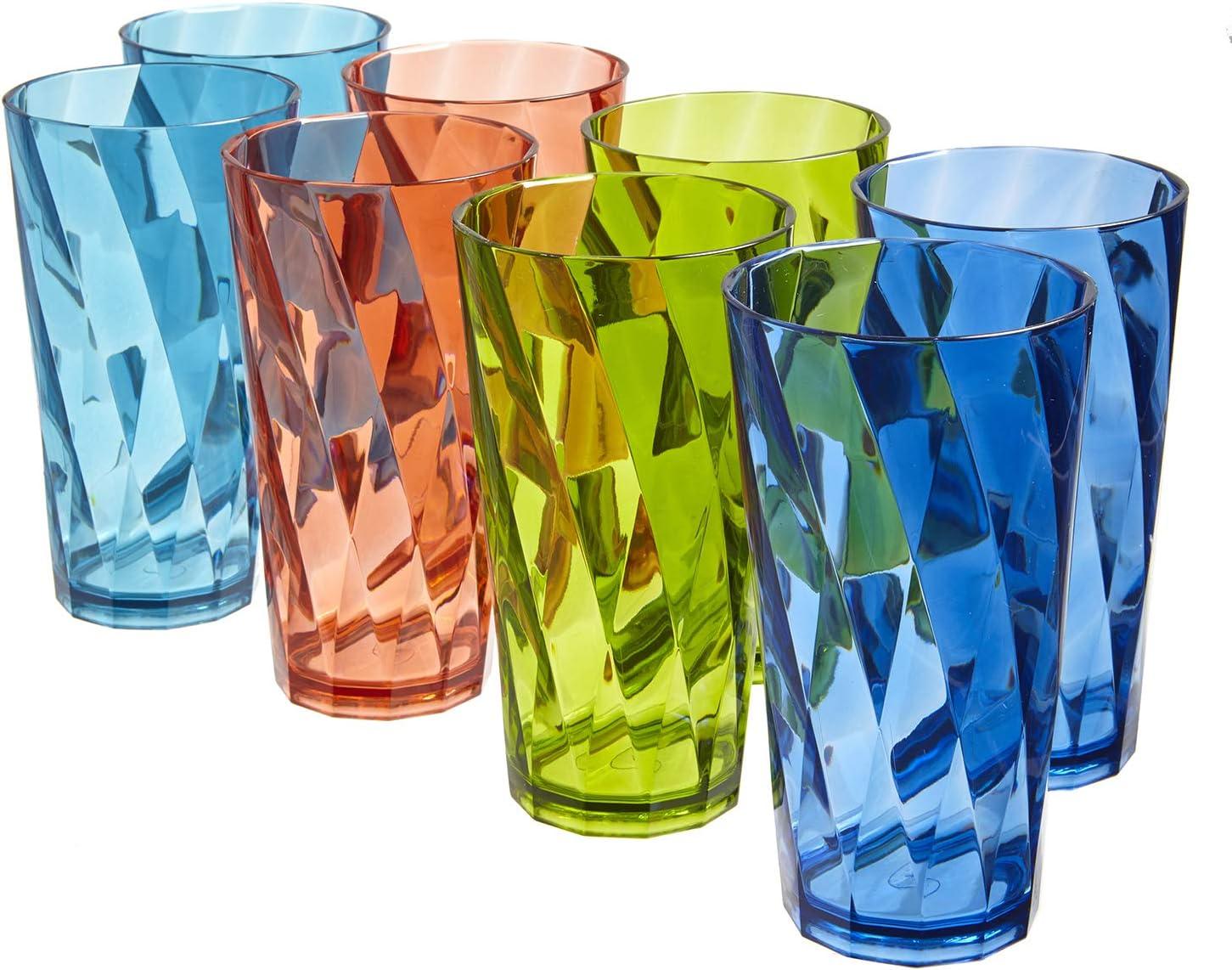 Optix 20 Ounce Plastic Tumblers Set Of 8 In 4 Basic Colors Tumblers Water Glasses