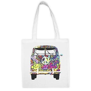 Woodstock VW T1 Weed 1969 Hippie Bolsa de tela blanca con impresión y dijo divertido.