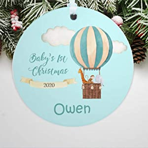 DONL9BAUER Personalized Baby's 1st Christmas 2020 Christmas Ornaments Hot Air Balloon Keepsake Hanging Ornament Xmas Tree Decorations Family Friends Present A Year to Forget