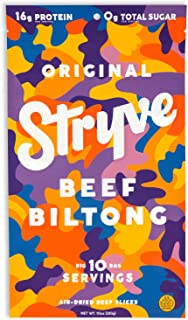product image for Stryve Biltong, Beef Jerky without the Junky. 16g Protein, Sugar Free, No Carbs, Gluten Free, No Nitrates, No MSG, No Preservatives. Keto and Paleo Friendly. Original, 10oz
