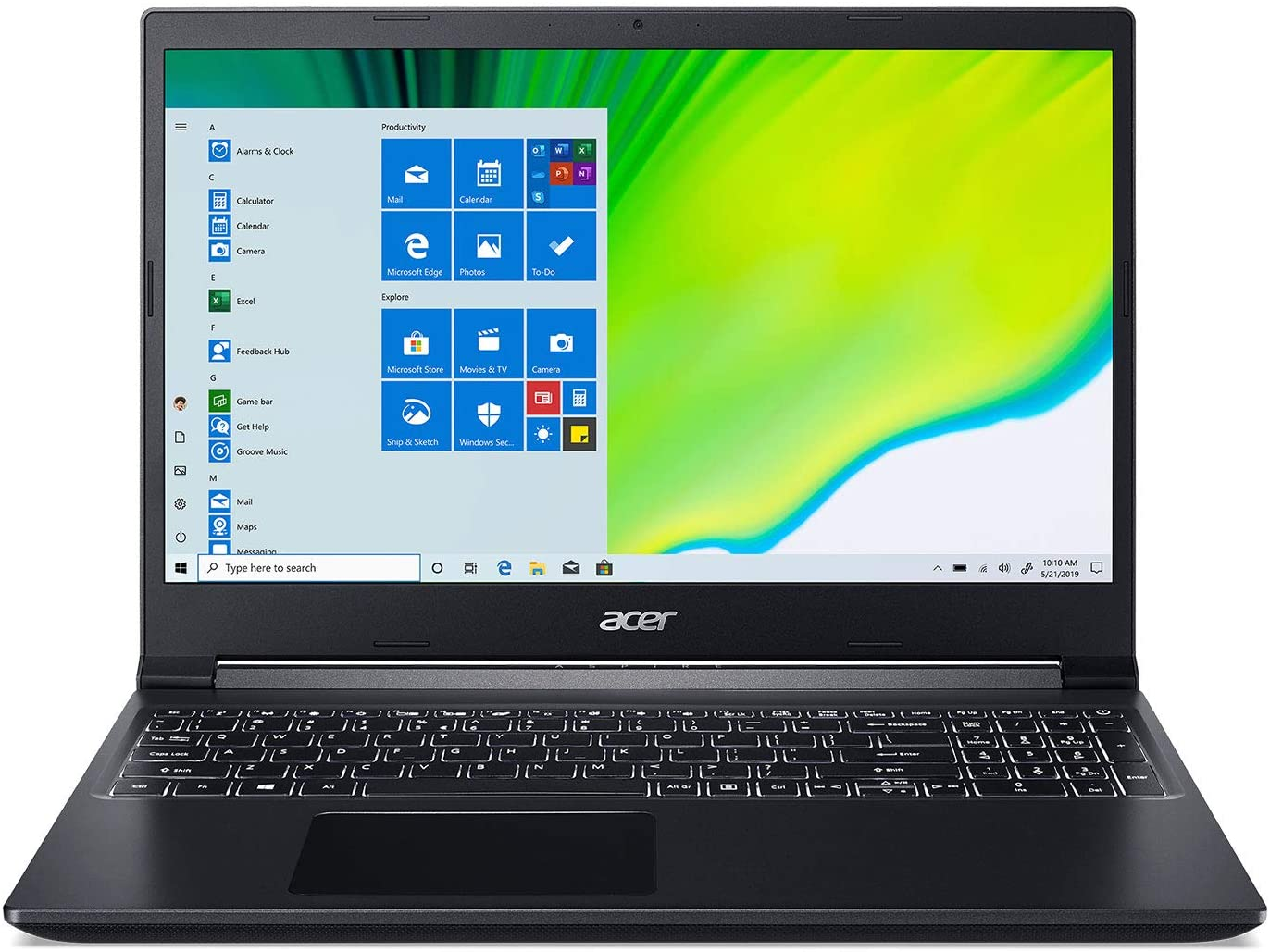 "Acer Aspire 7 Laptop, 15.6"" Full HD IPS Display, 9th Gen Intel Core i5-9300H, NVIDIA GeForce GTX 1650, 8GB DDR4, 512GB NVMe SSD, Backlit Keyboard, Windows 10 Home, A715-75G-544V"