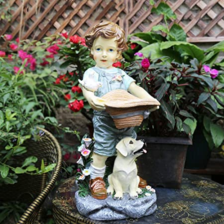 zenggp Efecto De Piedra Grande Resina Niños Adornos Estatuas De Jardín Antigüedades Vintage Figurita De Novios De Patio,BoyHigh+20inch: Amazon.es: Hogar