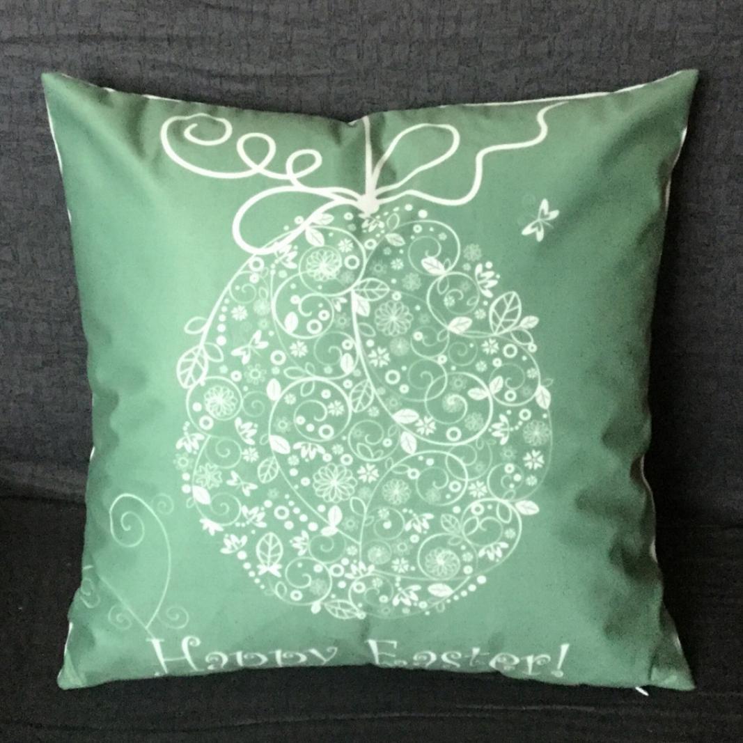 Viahwyt HAPPY EASTER Festival Egg Rabbit Cushion Cover Throw Pillow Case Sofa Home Decor 45 45CM A