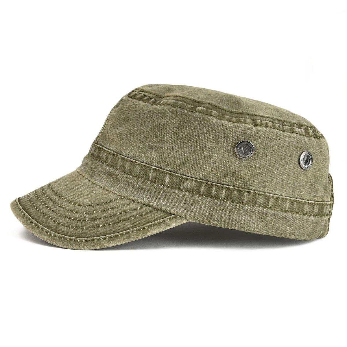 449c3ce90 VOBOOM Washed Cotton Military Caps Cadet Army Caps Unique Design Vintage  Flat Top Cap