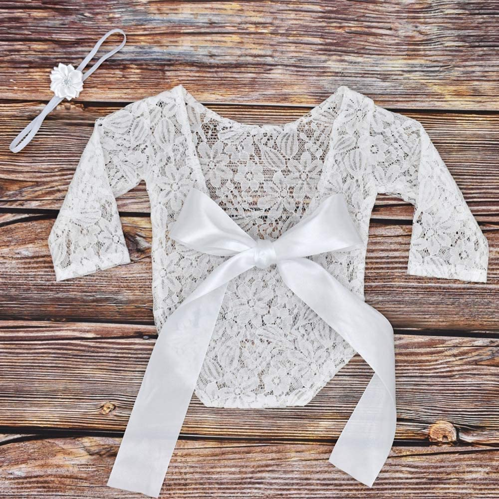 Photo Shoot Lace Romper and Flower Headband with Backless Hollow Bow Knot Knit Costume Outfits for Baby Boys and Girls Newborn Baby Photography Props
