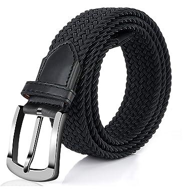 Men Woven Braided Elastic Belt High-Quality Military Stretch Belt Pin Buckle