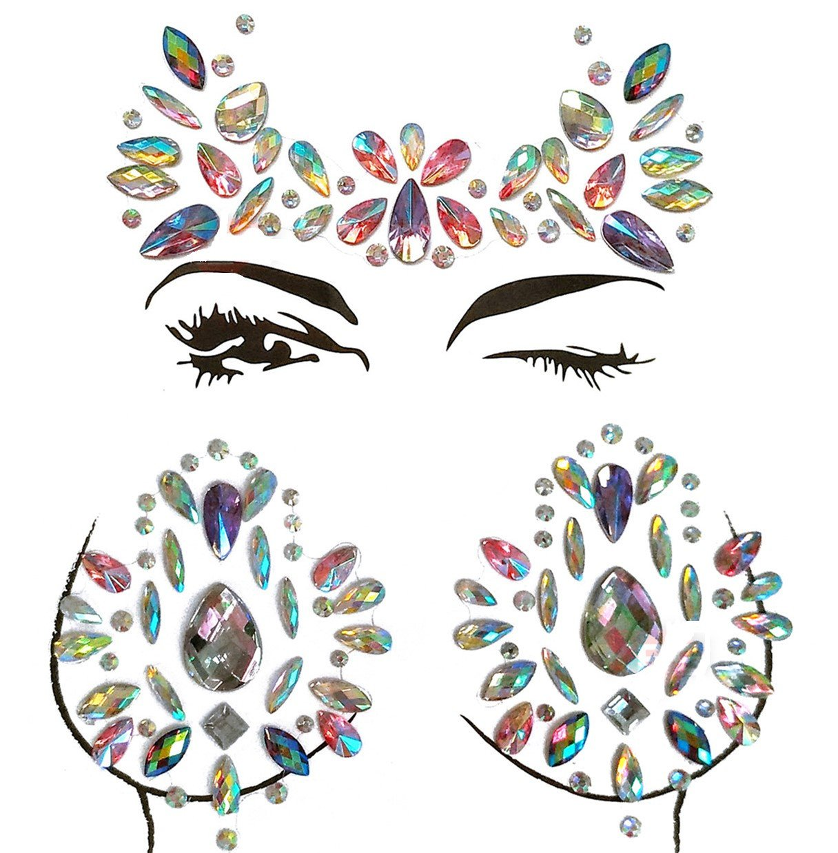 MineSign 8 Pack Face Jewels Festival Tattoo Set Face Gems Glitter Bindi Costume Makeup Rhinestone Eyes Body Rave Pasties for Party Roller (Mermaid Face Chest Kit) by MineSign (Image #2)