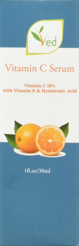Ved Vitamin C Serum for Face - Best Pure 20% Vitamin C & Hyaluronic Acid Anti-Aging Liquid Facial Serum - With Organic Aloe Vera & Rosehip Oil, Vitamin E, Kojic Acid, Collagen - 1 OZ