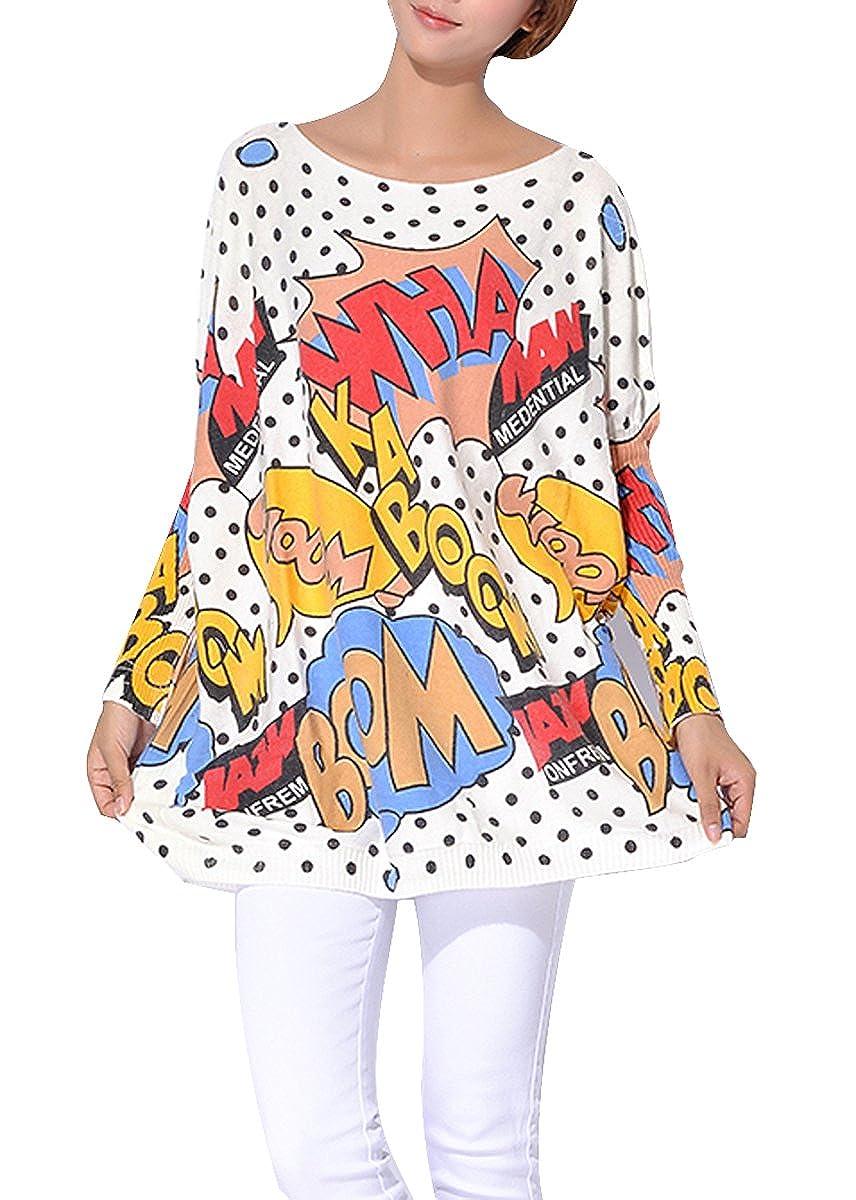 ELLAZHU Women Baggy Comic Print Knit Pullover Sweater Onesize SZ11 GC SZ11 Beige