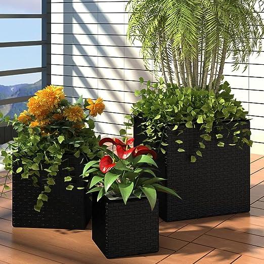 tiauant Casa y jardín Jardín Jardinería Macetas y tiestos Jardin Maceta De Ratan Cuadrada Set De