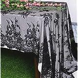 Black-Lace-Tablecloth 60x120-Inch EmbroideredLaceTableclothElegantBirthdayTableDecorationNettingLaceTableClothVint
