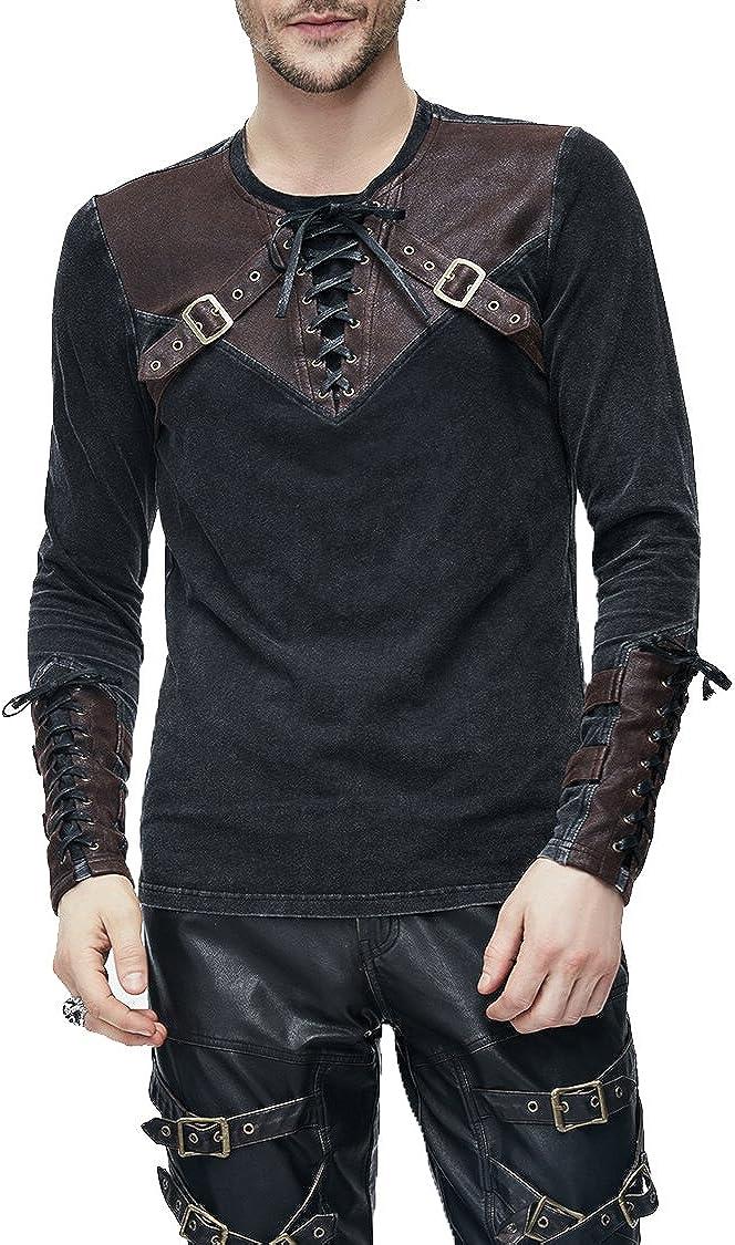 Steampunk Camiseta Termica Manga Larga Hombre, Decorado con Cinturón de Cuero, Slim Fit, Casual Tops Cuello Redondo
