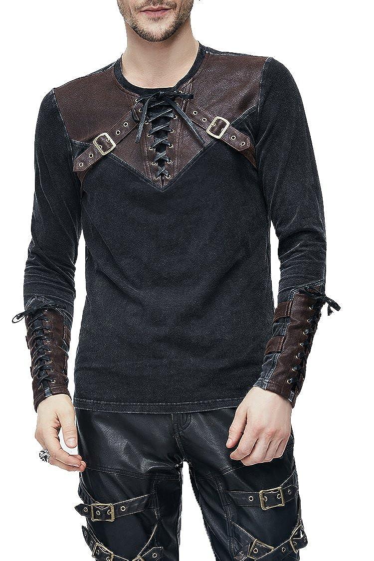 Devil Fashion Fashion Fashion Punk Gothic Herren Mode Langarmshirt, Steampunk Retro Langen Ärmeln Tops Männer, Größe S bis 3XL, 2 Farben B0788KXJDZ Langarmshirts Ästhetisches Aussehen 7ac6ad