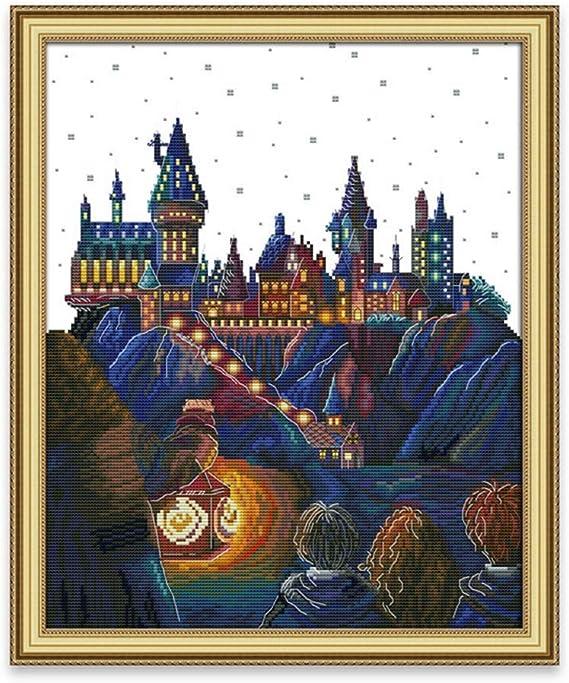 Stickpackung 44 x 53 cm 11-f/ädig Motiv: Magic Castle Cleana Arts Kreuzstich-Set