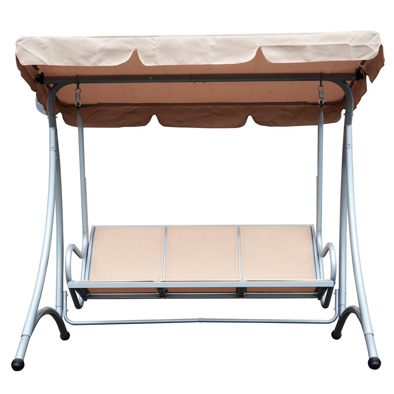 Outsunny 3 Seat Metal Swing Chair Hammock w//Canopy Cover Heavy Duty Patio Garden Outdoor Beige